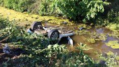 Dereye uçan araçtaki hemşire öldü, eşi yaralandı